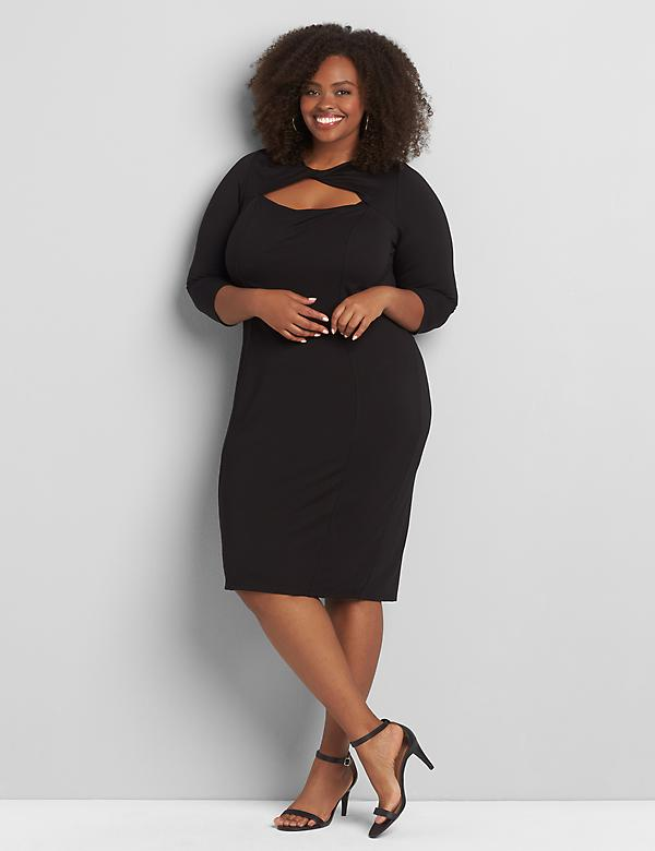 Ponte Twisted Keyhole Sheath Dress