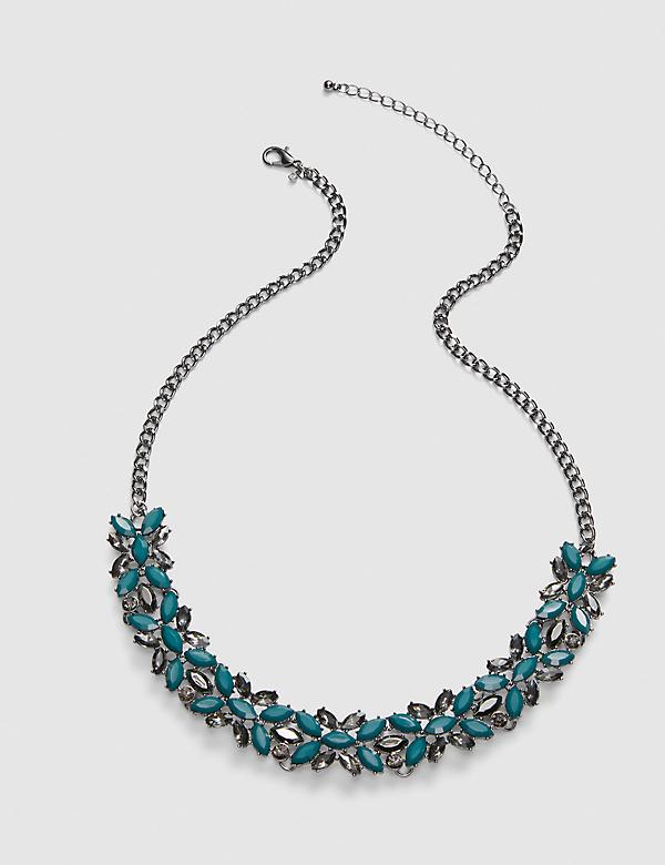 Faceted Stone Cluster Necklace