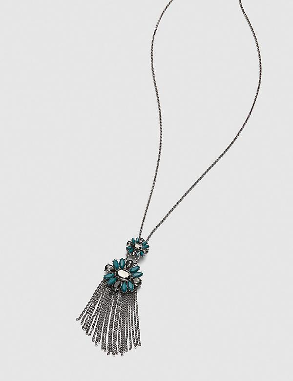 Faceted Stone Tassel Necklace
