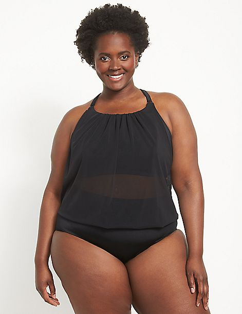 Eco-Friendly Mesh Blouson No-Wire Swim Tankini Top