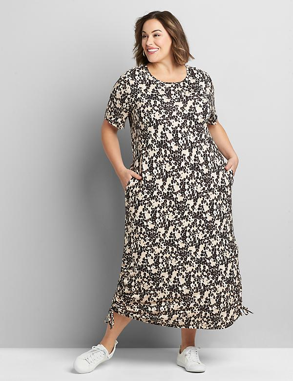 Perfect Sleeve Ruched Side Midi Dress