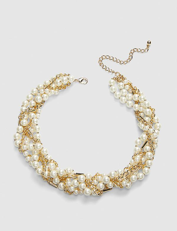 Layered Pearlescent & Chain Statement Necklace