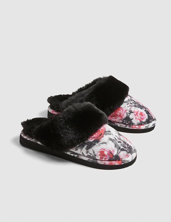 Faux-Fur Floral Scuff Slipper