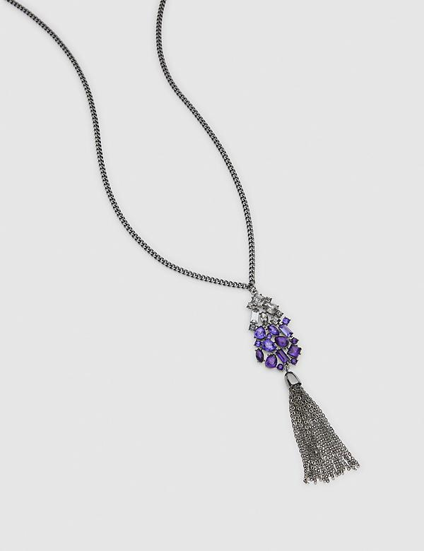 Purple Faceted Stone Tassel Pendant Necklace