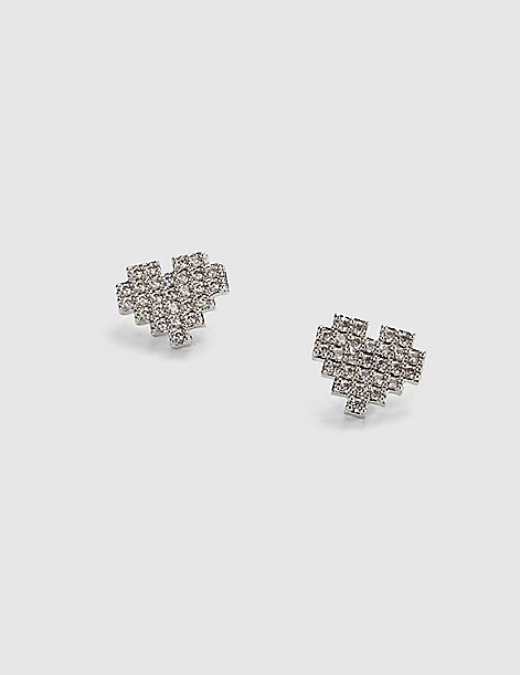 Pave-Embellished Heart Stud Earrings