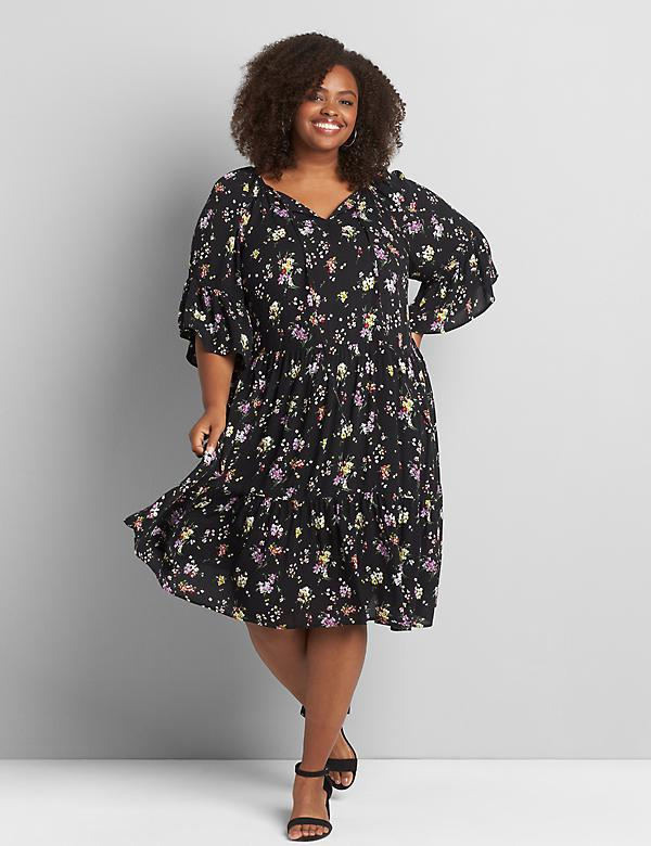 Printed Ruffle-Sleeve Swing Dress