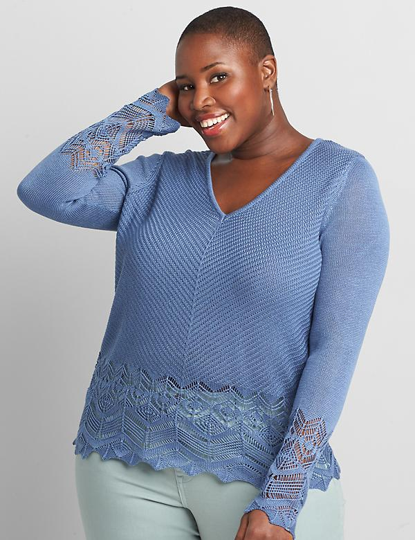 Pointelle-Stitch Pullover Sweater