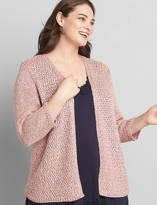 Open-Front Mixed-Stitch Cardigan