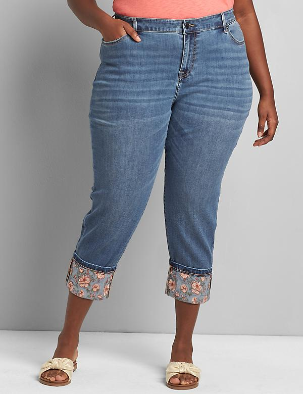 Signature Fit Boyfriend Capri Jean - Medium Wash With Embroidered Cuff