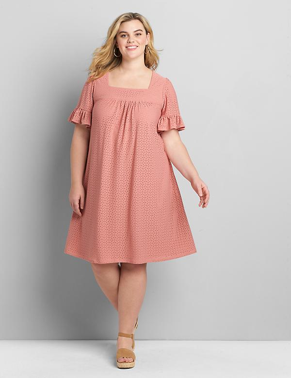 Eyelet Flutter-Sleeve Swing Dress