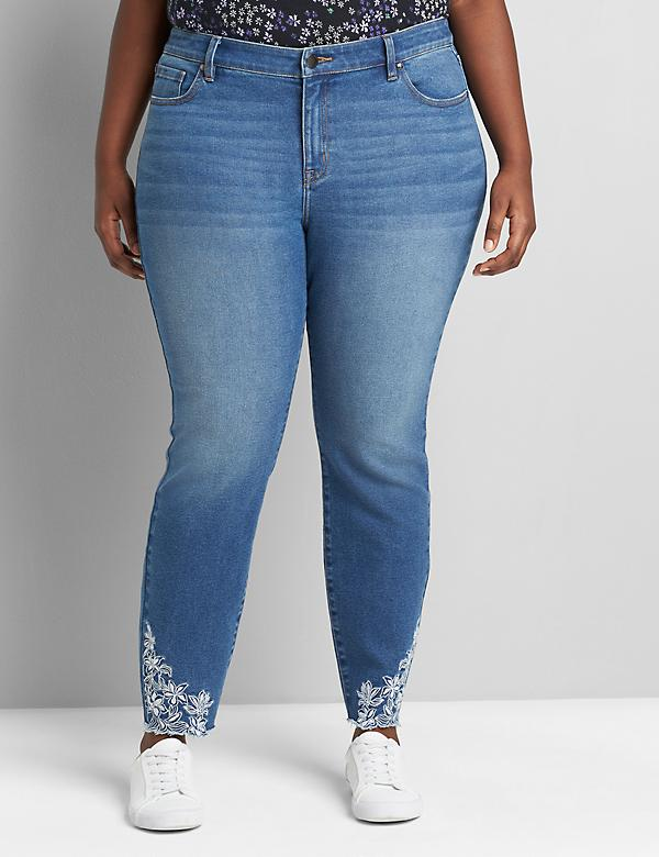 Signature Fit Skinny Jean - Dark Wash With Embroidered Hem