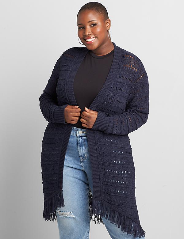 Open-Stitch Draped Cardigan