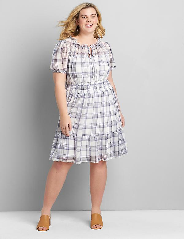 Plaid Shirred-Waist Dress