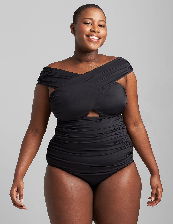 Lane Bryant Women's Fitted Wrap-Over No-Wire Swim Tankini Top 28 Black