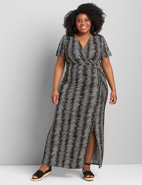 Crossover Side-Ruched Maxi Dress