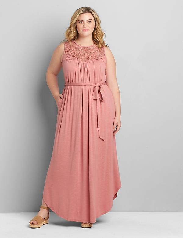 Crochet-Yoke Fit & Flare Maxi Dress