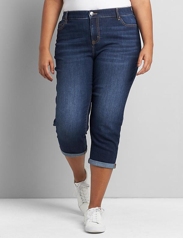 Signature Fit Boyfriend Capri Jean - Dark Wash