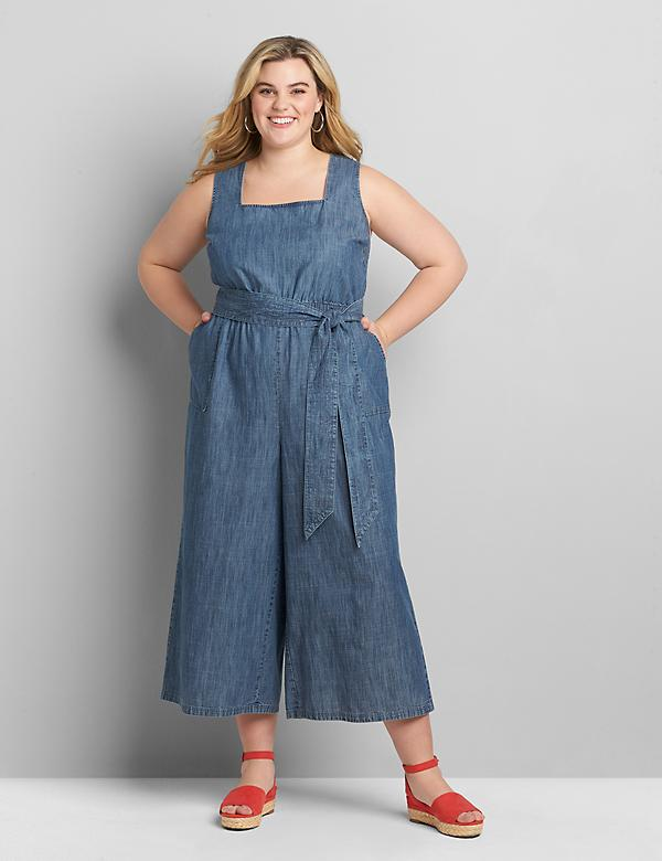 Chambray Square-Neck Jumpsuit