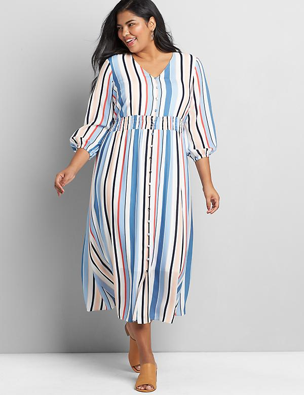 Striped Button-Front Midi Dress