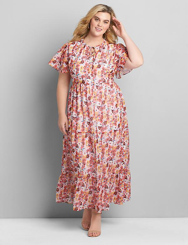 Chiffon Ruffle-Hem Maxi Dress
