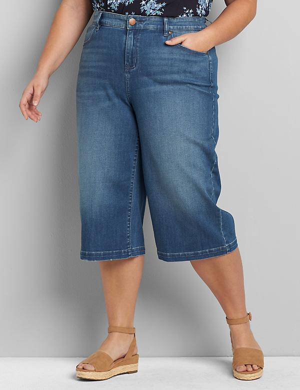 Signature Fit Wide Leg Pedal Jean - Medium Wash