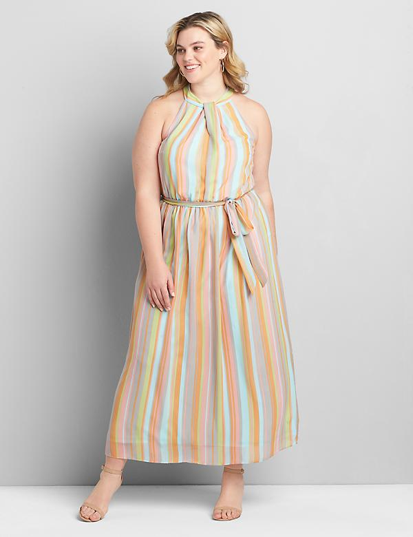 Striped High-Neck Maxi Dress