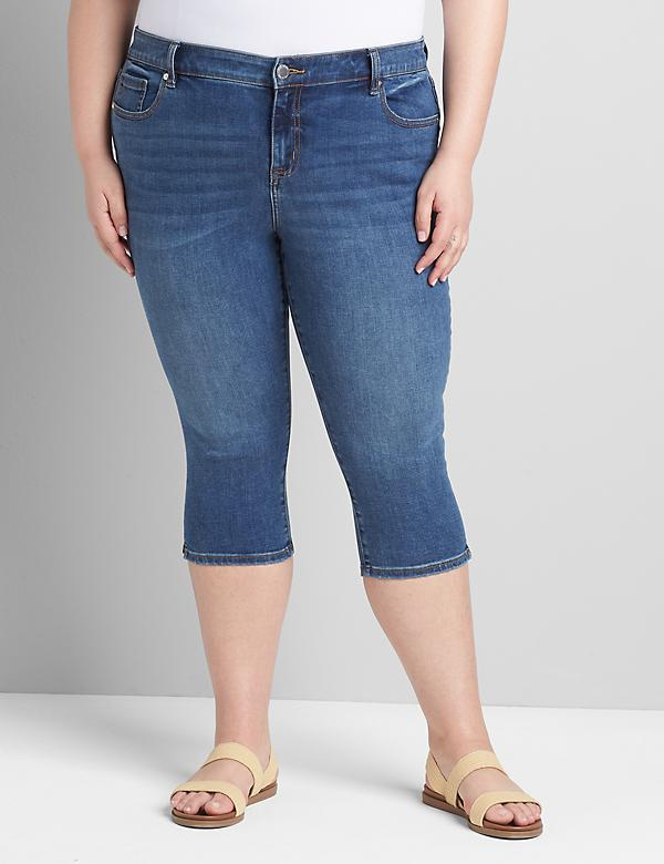 Straight Fit High-Rise Pedal Jean - Medium Wash