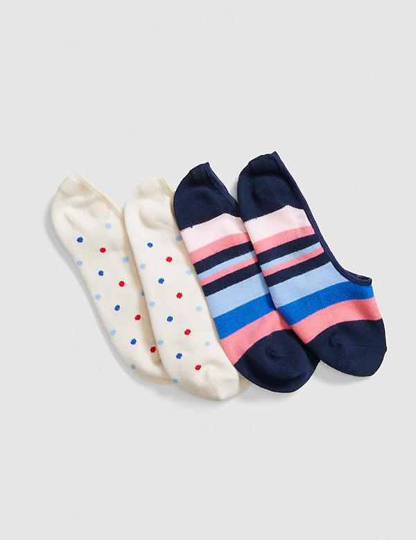 2-Pack No-Show Socks - Stripes & Dots