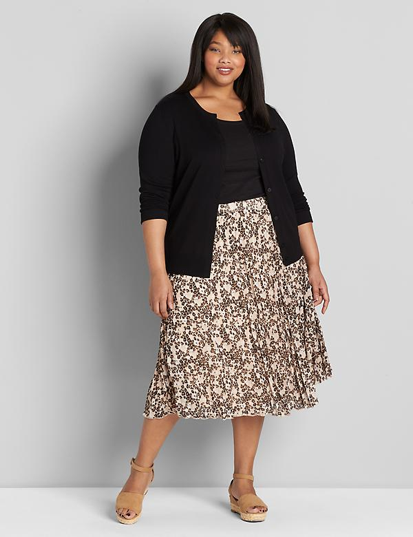 Pleated Pull-On Midi Skirt