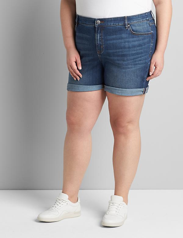 Signature Fit Denim Boyfriend Midi Short - Dark Wash