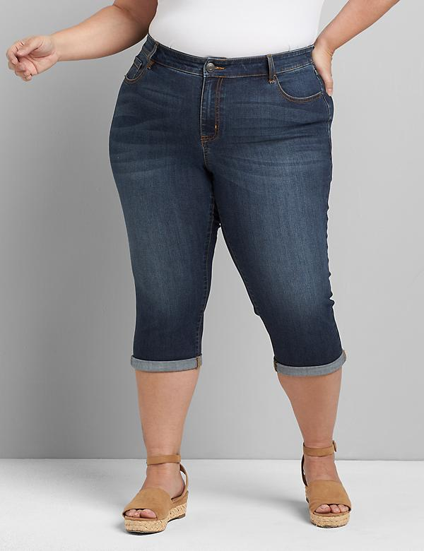Lane Essentials Venezia Pedal Jean - Dark Wash