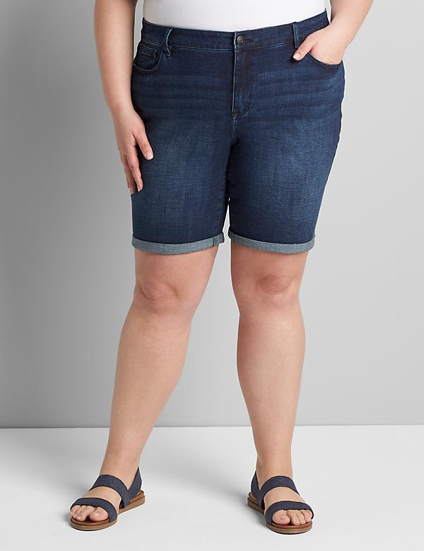 Lane Essentials Venezia Denim Bermuda Short - Dark Wash With Rolled Hem