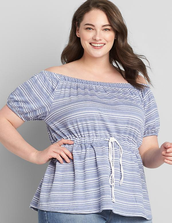 Striped Convertible Off-The-Shoulder Peplum Top