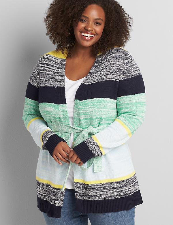 Colorblock Striped Belted Sweater Coat