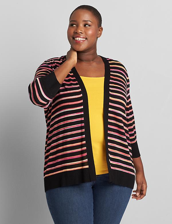 Open-Front Striped Cardigan