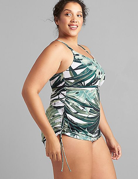 Drawstring No-Wire Swim Dress