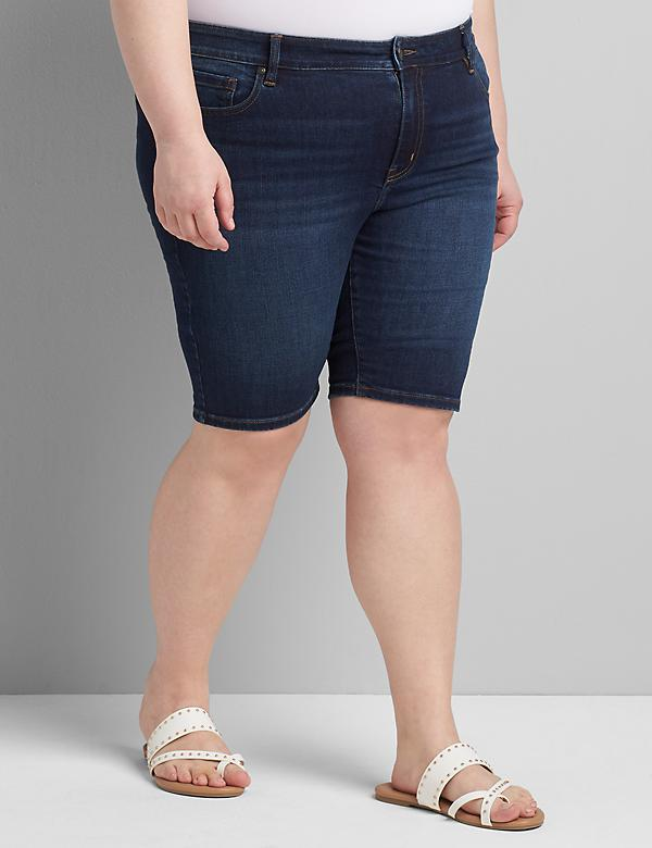 Straight Fit High-Rise Denim Bermuda Short - Dark Wash