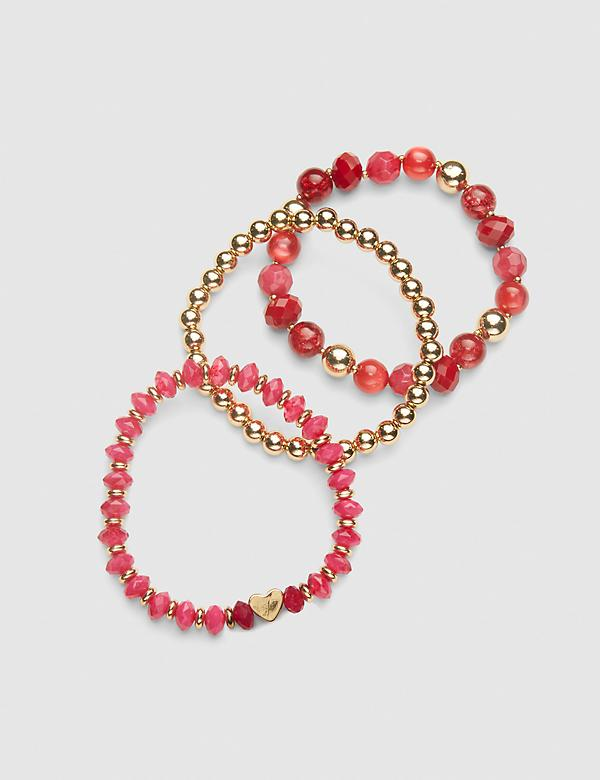 3-Row Heart Stretch Bracelet Set