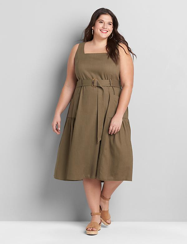 Linen Square-Neck Midi Dress