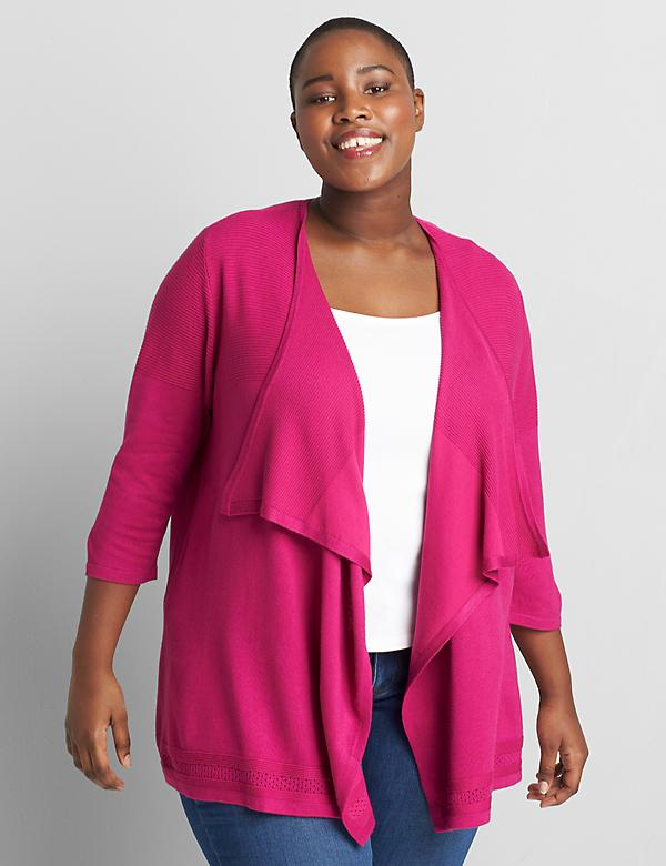 3/4-Sleeve Draped-Front Cardigan