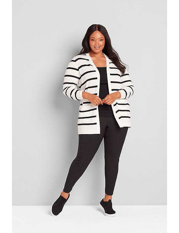 Striped Long-Sleeve Open-Front Cardigan