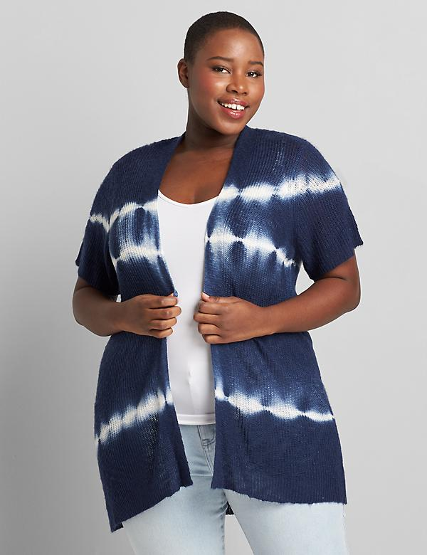 Short-Sleeve Tie-Dye Cardigan