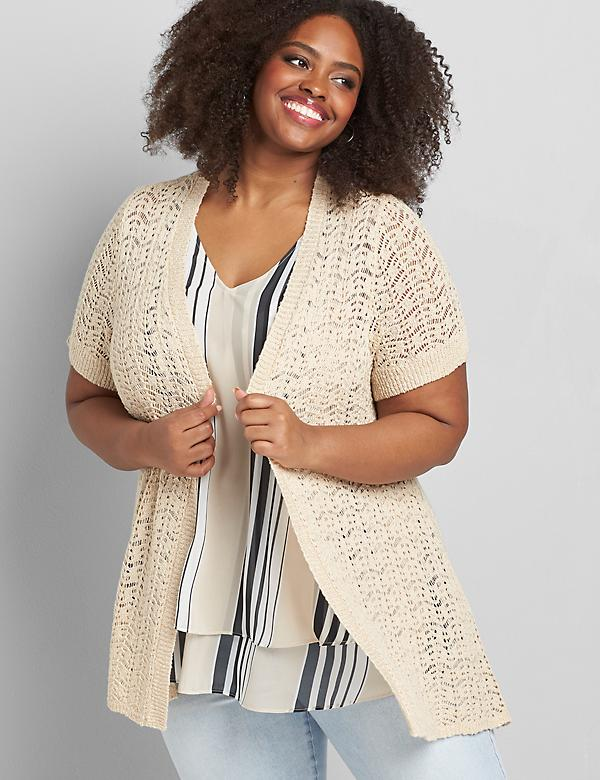 Open-Stitch Sharkbite Cardigan