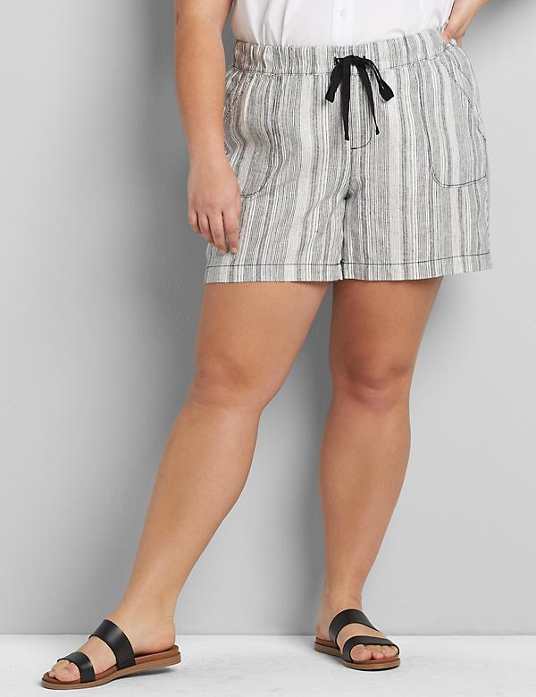 Linen Pull-On Short - Striped