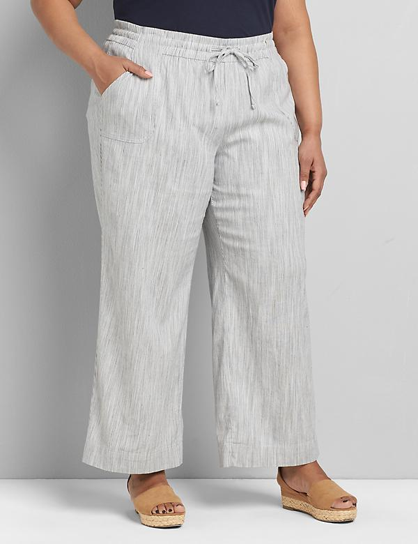 Pull-On Linen Wide Leg Pant - Pinstripe