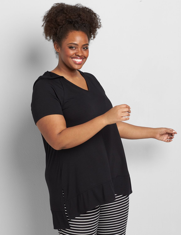 Lane Bryant Women's Livi French Terry Hooded Swing Tunic 14/16 Black