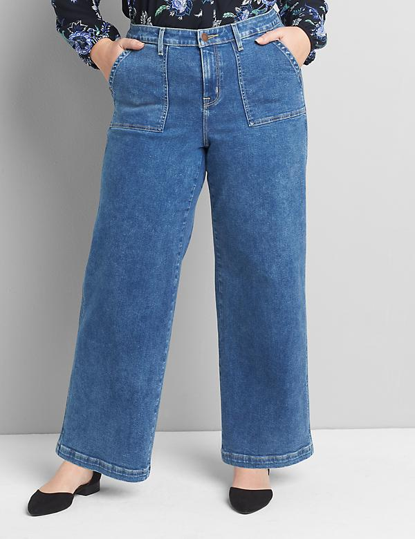 Signature Fit Wide Leg Jean - Medium Wash With Patch Pockets