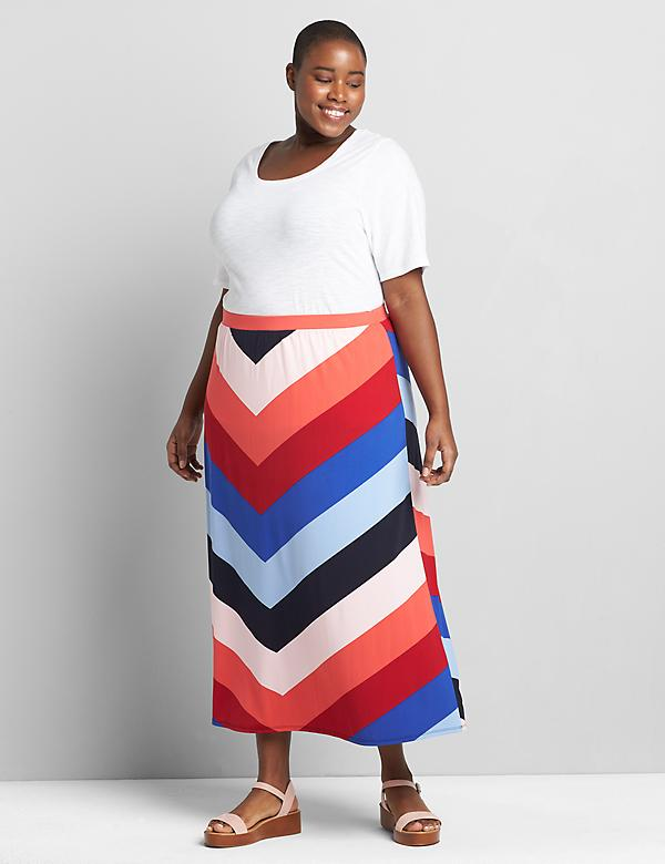 Knit Kit Pull-On Chevron Maxi Skirt