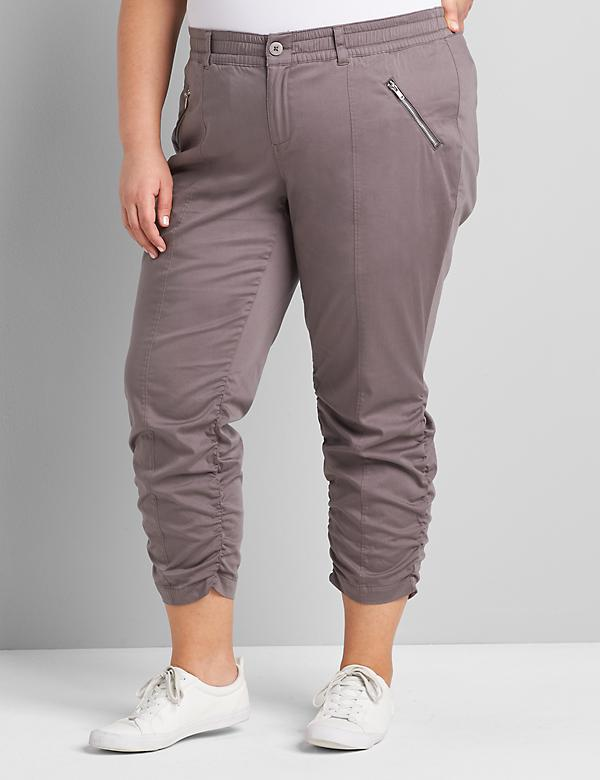 Soft Capri Pant With Ruched Hem