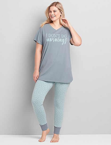 V-Neck Tee & Legging PJ Set
